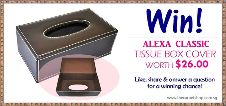 Win the Alexa Classic Tissue Box Cover (Brown) worth $26.00 at The Carpet Shop (Singapore)