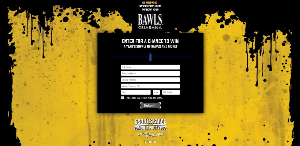 "BAWLS Guarana "" Scout's Guide to t he Zombie Apocalypse "" Sweepstakes"