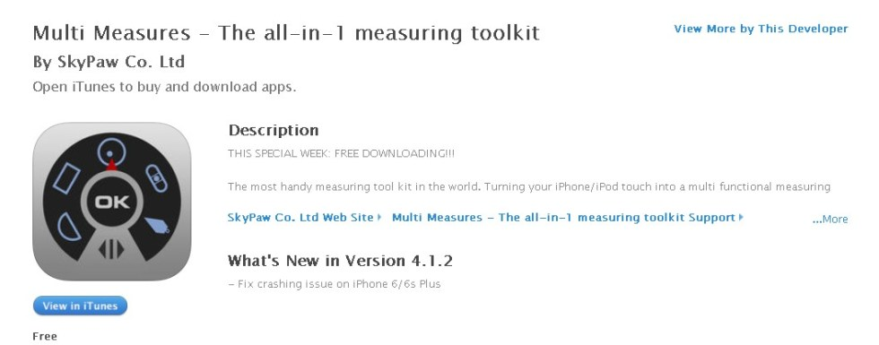 FREE APP @ iTunes  Multi Measures - The all-in-1 measuring toolkit By SkyPaw Co. Ltd