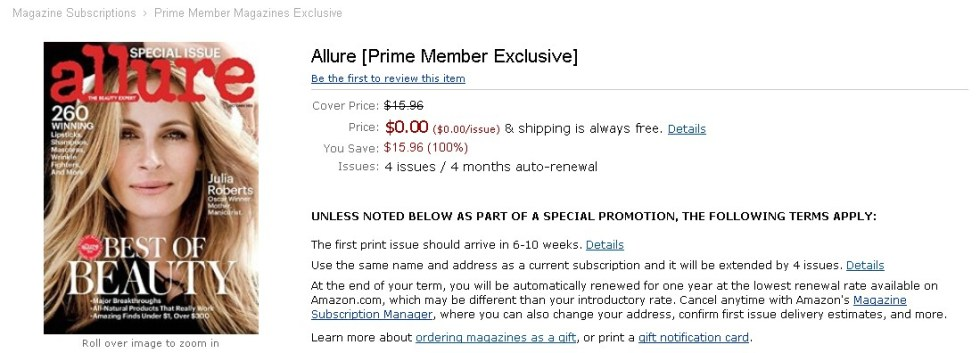 FREE Allure [Prime Member Exclusive] at Amazon
