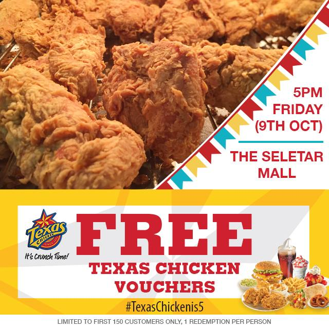 FREE Texas Chicken Vouchers at The Seletar Mall Singapore