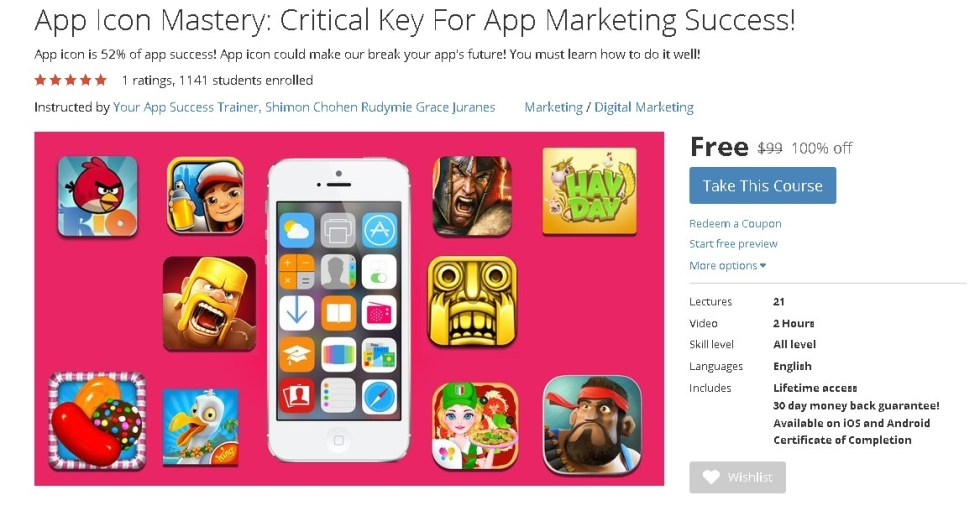 FREE Udemy Course on App Icon Mastery Critical Key For App Marketing Success!