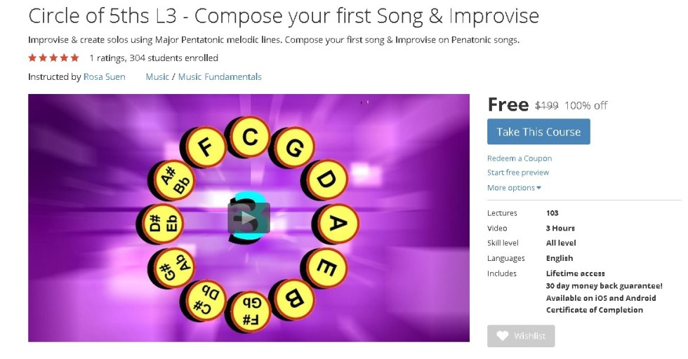FREE Udemy Course on Circle of 5ths L3 - Compose your first Song & Improvise (2)