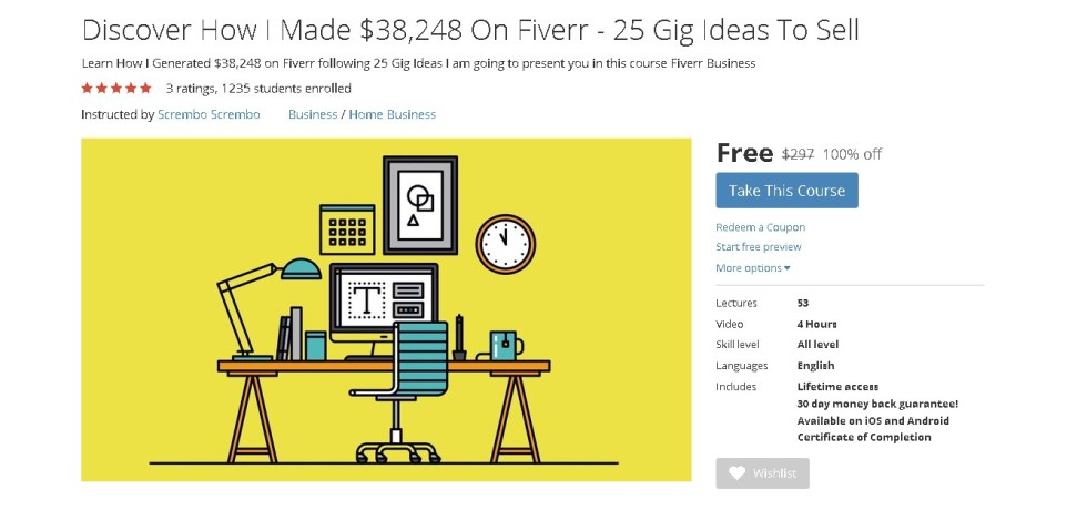 FREE Udemy Course on Discover How I Made $38,248 On Fiverr - 25 Gig Ideas To Sell