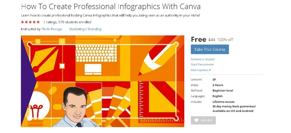 FREE Udemy Course on How To Create Professional Infographics With Canva