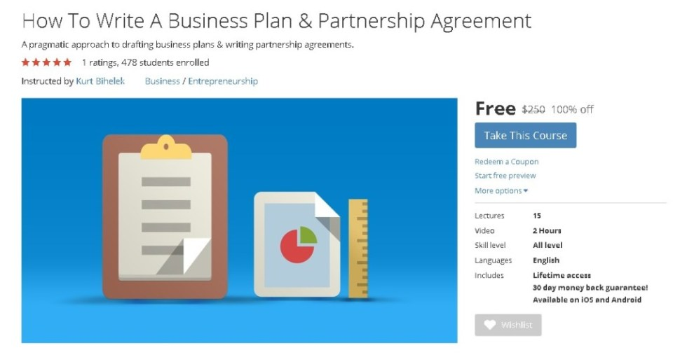 FREE Udemy Course on How To Write A Business Plan & Partnership Agreement