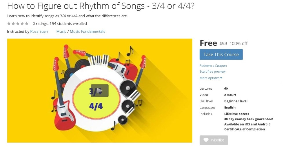 FREE Udemy Course on How to Figure out Rhythm of Songs - 34 or 44