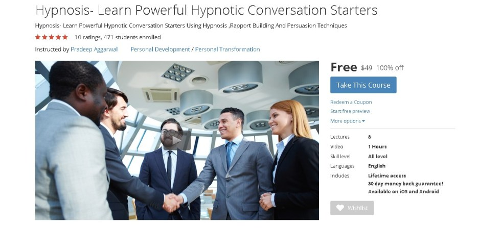 FREE Udemy Course on Hypnosis- Learn Powerful Hypnotic Conversation Starters