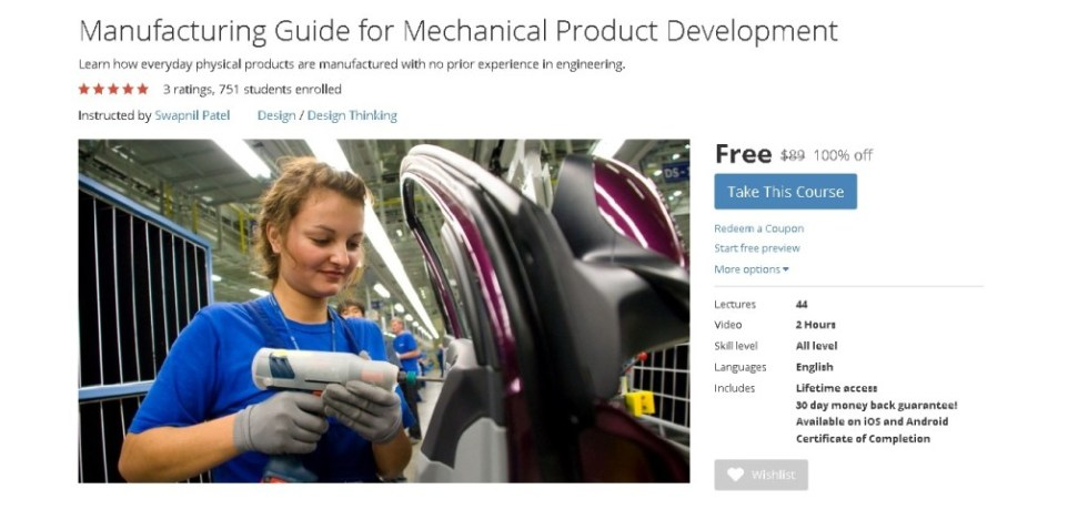 FREE Udemy Course on Manufacturing Guide for Mechanical Product Development