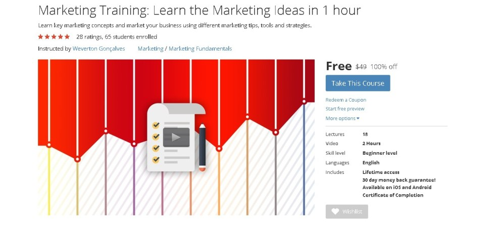 FREE Udemy Course on Marketing Training Learn the Marketing Ideas in 1 hour
