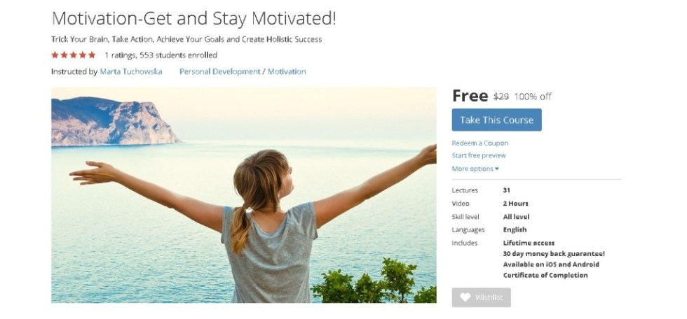 FREE Udemy Course on Motivation-Get and Stay Motivated!