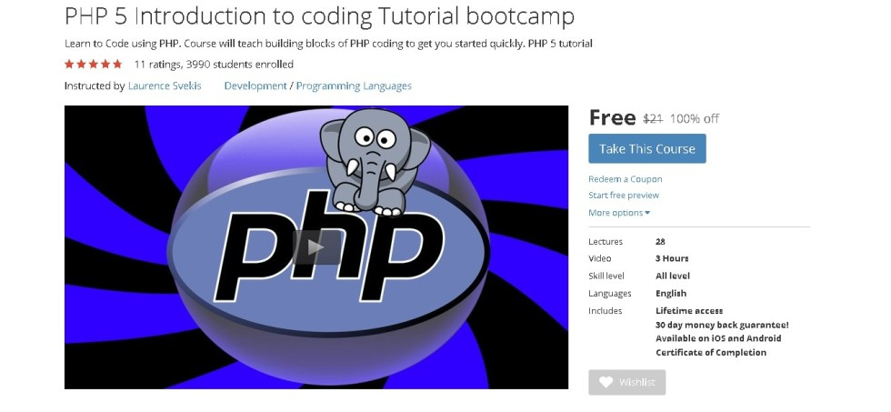 FREE Udemy Course on PHP 5 Introduction to coding Tutorial bootcamp