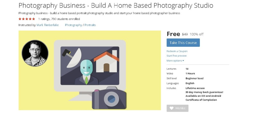 FREE Udemy Course on Photography Business - Build A Home Based Photography Studio