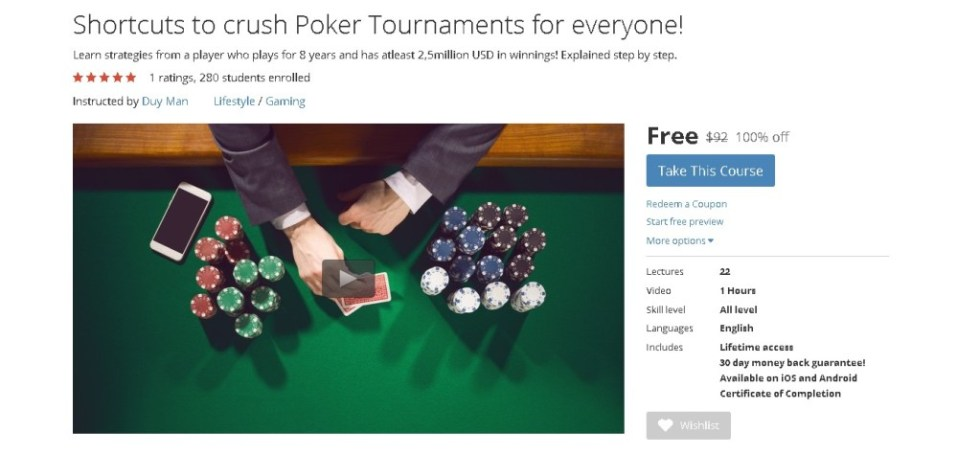 FREE Udemy Course on Shortcuts to crush Poker Tournaments for everyone!