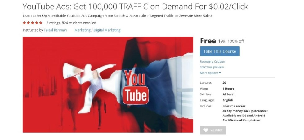FREE Udemy Course on YouTube Ads Get 100,000 TRAFFIC on Demand For $0.02Click