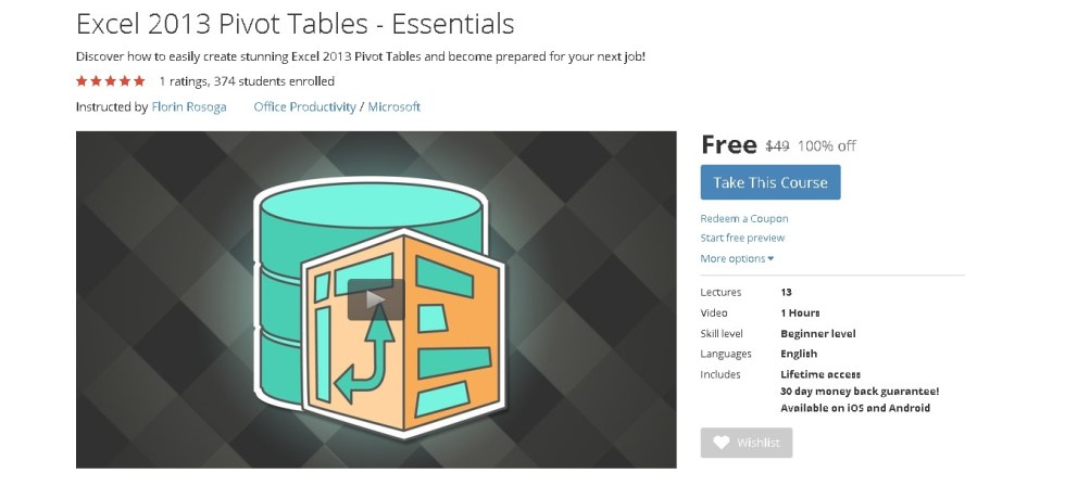 FREE Udemy Course onExcel 2013 Pivot Tables - Essentials