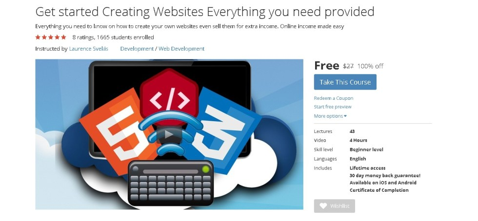 FREE Udemy Online Course on Get started Creating Websites Everything you need provided