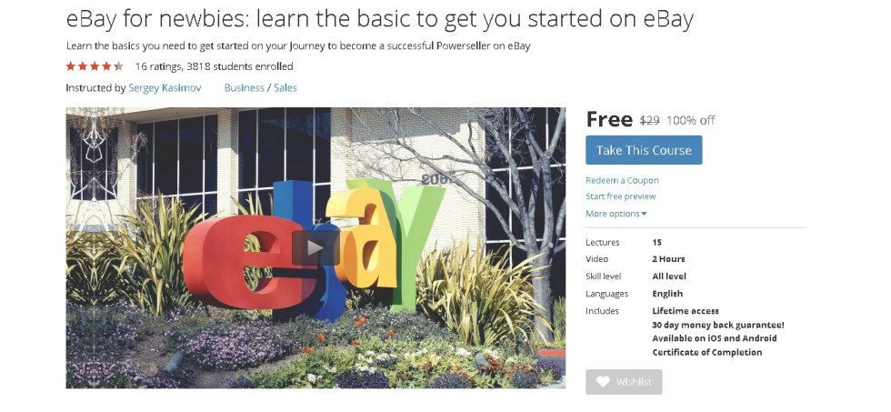 FREE Udemy Online Course on eBay for newbies learn the basic to get you started on eBay