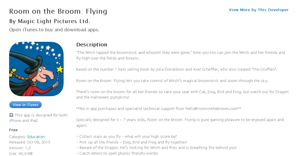 FREE iOS App: Room on the Broom: Flying By Magic Light Pictures Ltd