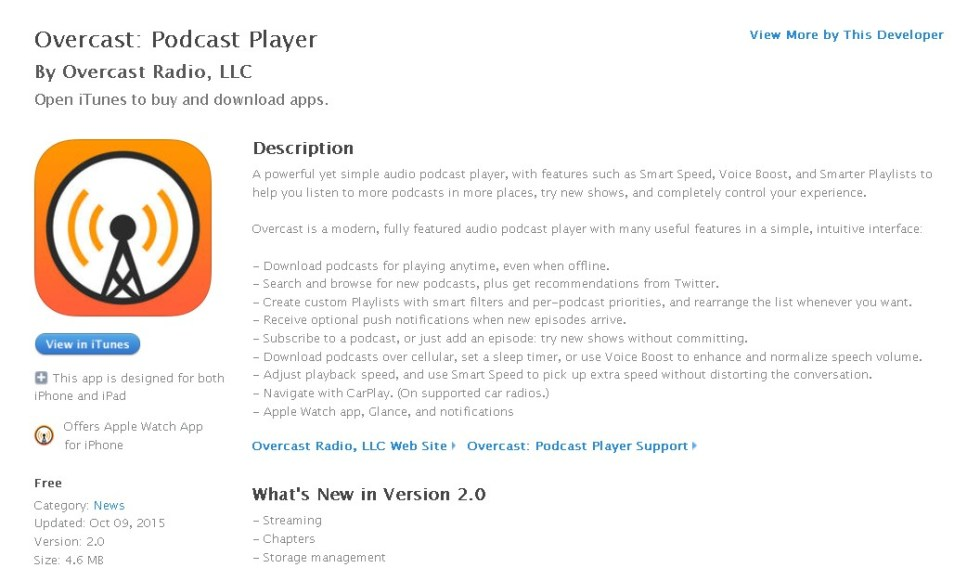FREE iOS News App- Overcast Podcast Player