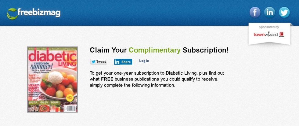 FREE one-year subscription to Diabetic Living at Freebizmag