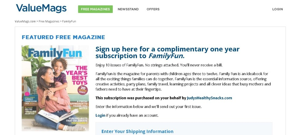 FREE one year subscription to FamilyFun Magazine at ValueMags