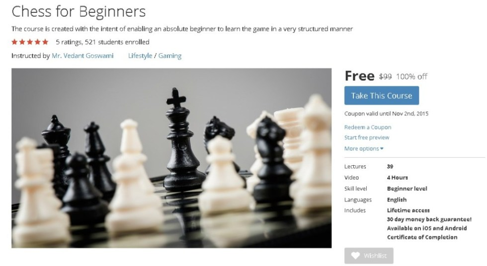 Free Udemy Course on Chess for Beginners