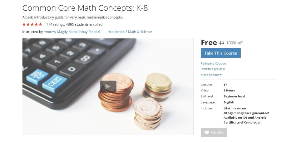 Free Udemy Course on Common Core Math Concepts K-8