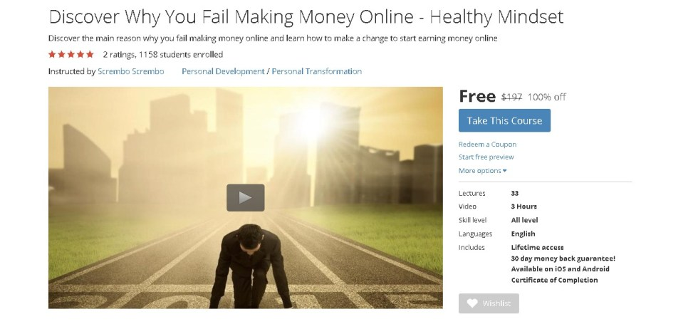 Free Udemy Course on Discover Why You Fail Making Money Online - Healthy Mindset