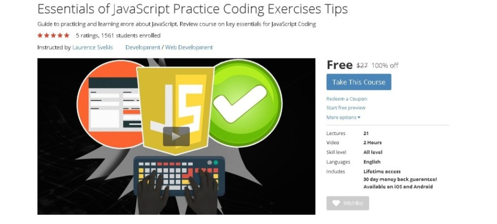 Free Udemy Course on Essentials of JavaScript Practice Coding Exercises Tips