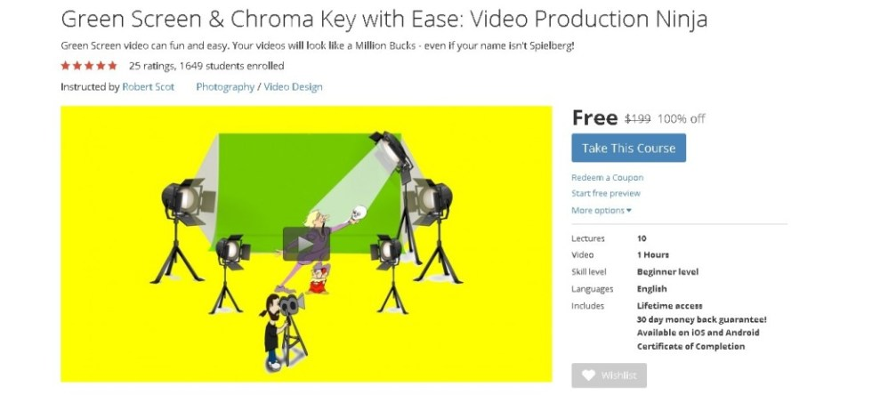Free Udemy Course on Green Screen & Chroma Key with Ease Video Production Ninja