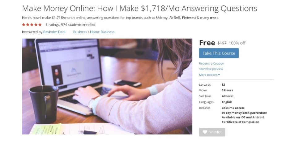 Free Udemy Course on Make Money Online How I Make $1,718Mo Answering Questions