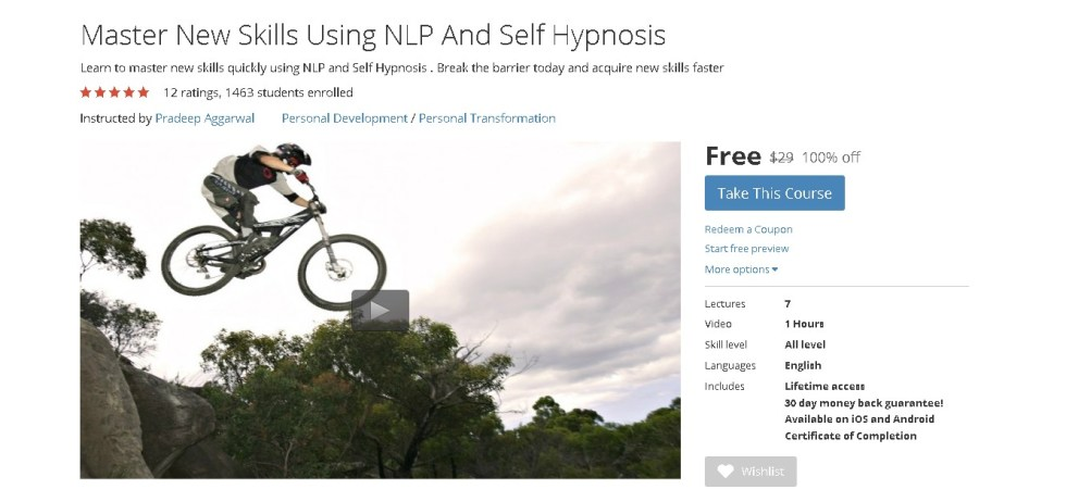 Free Udemy Course on Master New Skills Using NLP And Self Hypnosis (2)