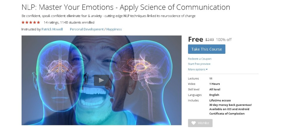 Free Udemy Course on NLP Master Your Emotions - Apply Science of Communication (2)