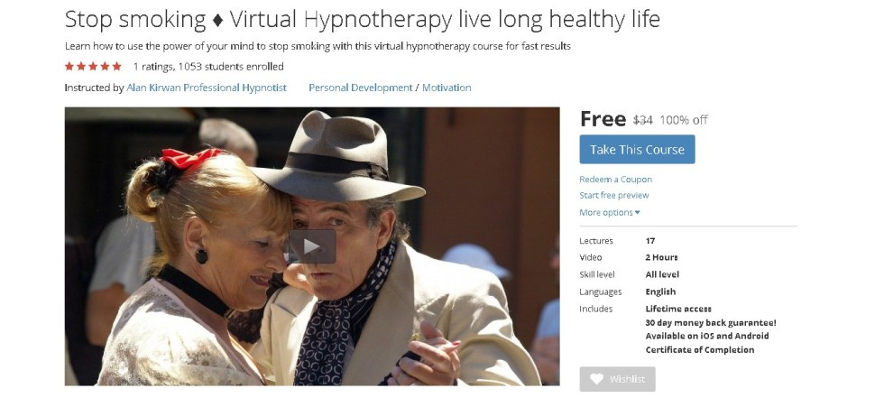 Free Udemy Course on Stop smoking ♦ Virtual Hypnotherapy live long healthy life