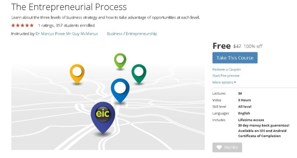 Free Udemy Course on The Entrepreneurial Process