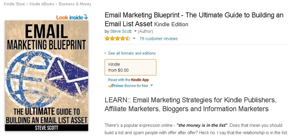 Free eBook at Amazon on Email Marketing Blueprint - The Ultimate Guide to Building an Email List Asset
