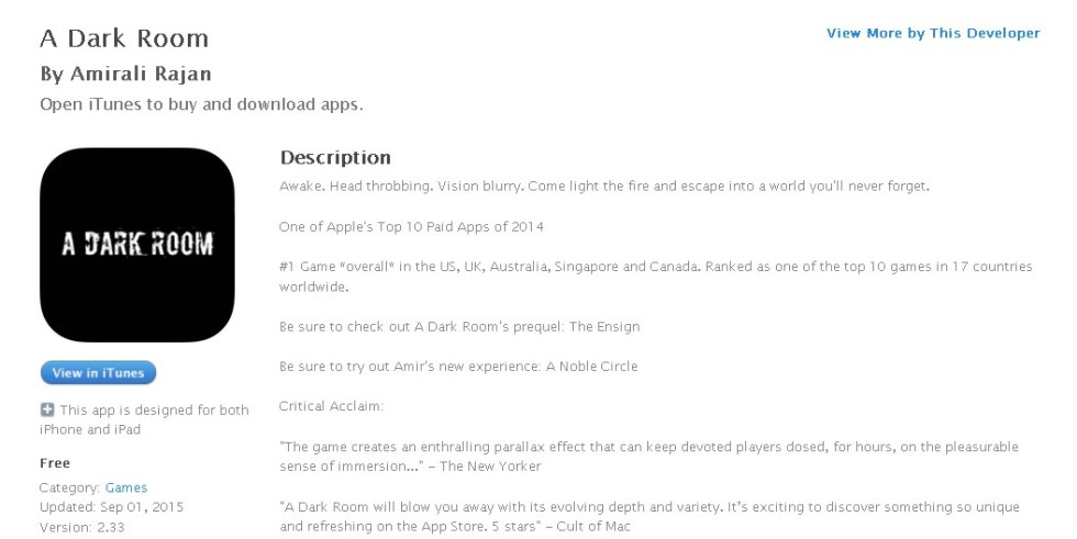 Free iOS App A Dark Room By Amirali Rajan