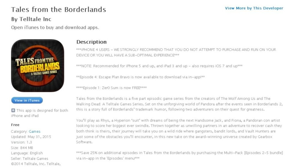 Free iOS Game Tales from the Borderlands By Telltale Inc