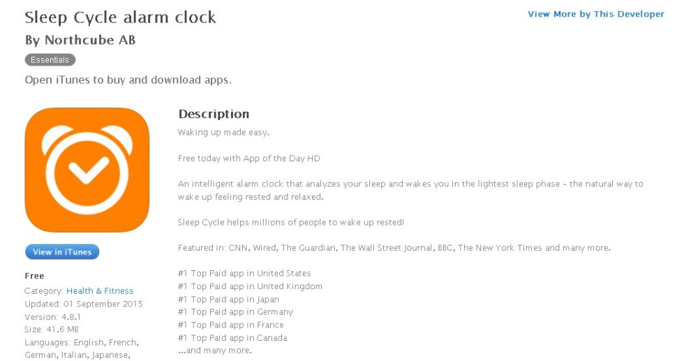 Free iOS Health & Fitness App Sleep Cycle alarm clock By Northcube AB