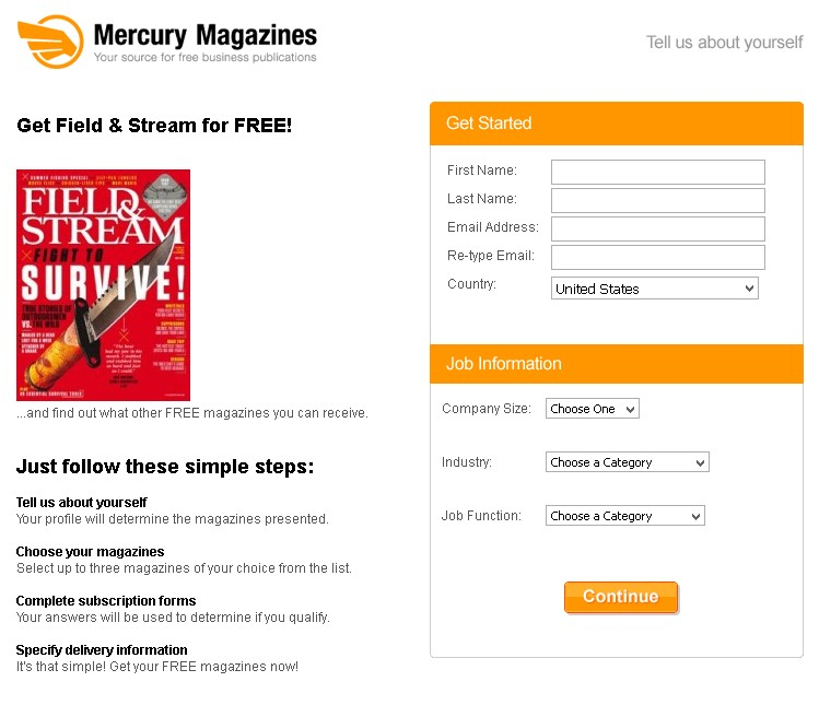 Get Field & Stream Magazine for FREE at Mercury Magazines