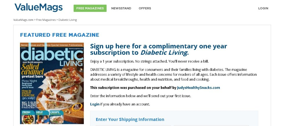 Sign up here for a complimentary one year subscription to Diabetic Living Magazine