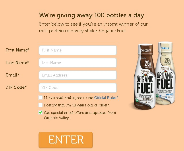 WIN milk protein recovery shake at Organic Fuel