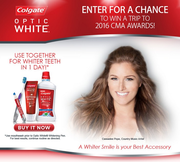 Win 3 Day 2 night trip to the 2015 CMA Awards in Nashville at Colgate Optic White