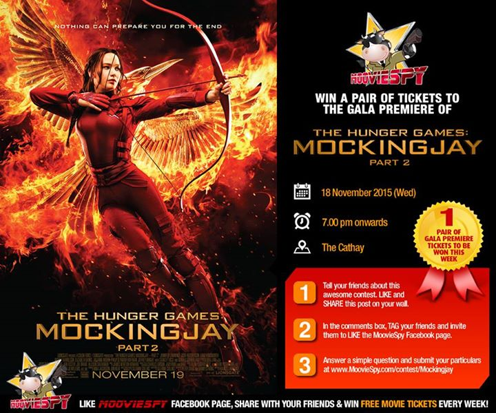 Win a pair of tickets to the Singapore Gala Premiere of The Hunger Games Mockingjay Part 2 starring Jennifer Lawrence