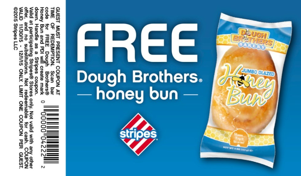 Free Dough Brothers Honey Bun at Stripes