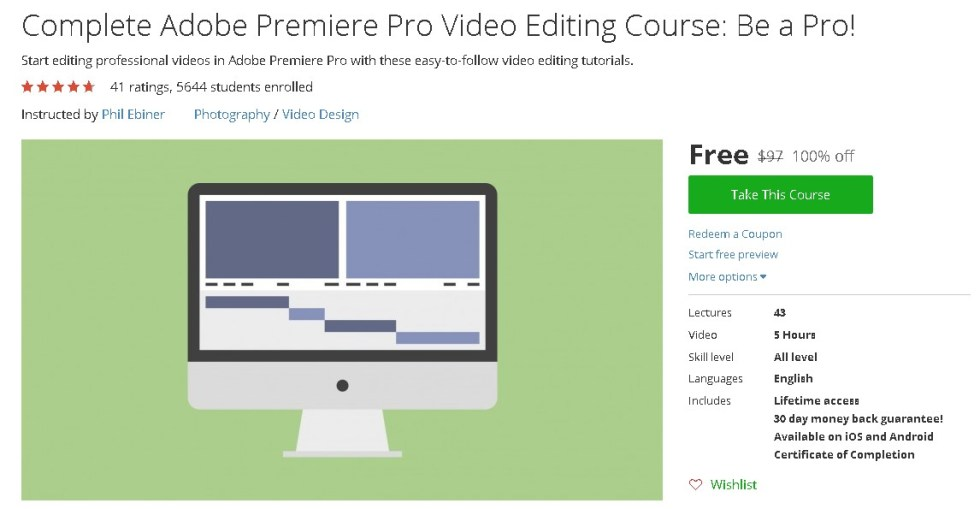 Free Udemy Course on Complete Adobe Premiere Pro Video Editing Course Be a Pro!