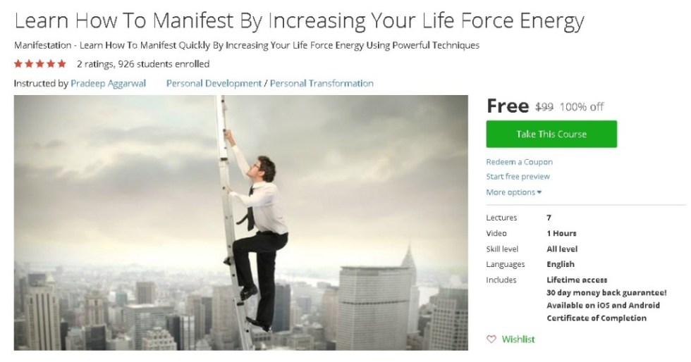 Free Udemy Course on Learn How To Manifest By Increasing Your Life Force Energy
