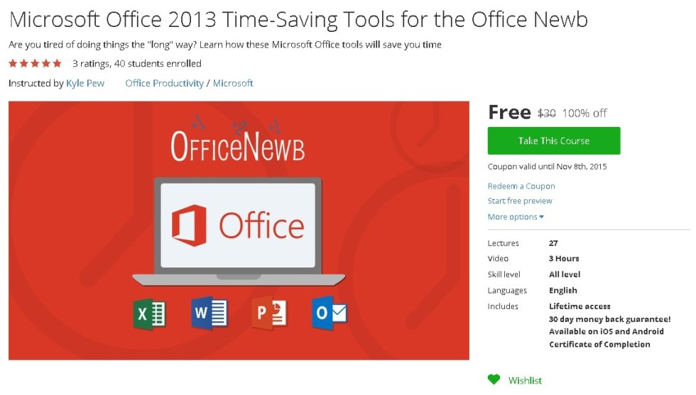 Free Udemy Course on Microsoft Office 2013 Time-Saving Tools for the Office Newb