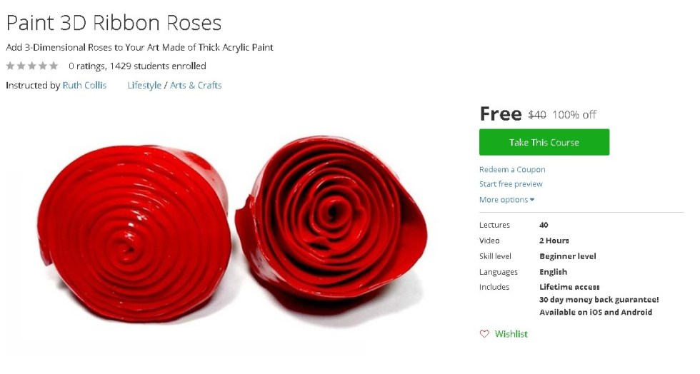 Free Udemy Course on Paint 3D Ribbon Roses